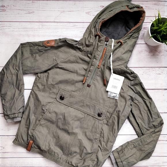 NWT NAKETANO Half Zip Hooded Olive Green Jacket S NWT